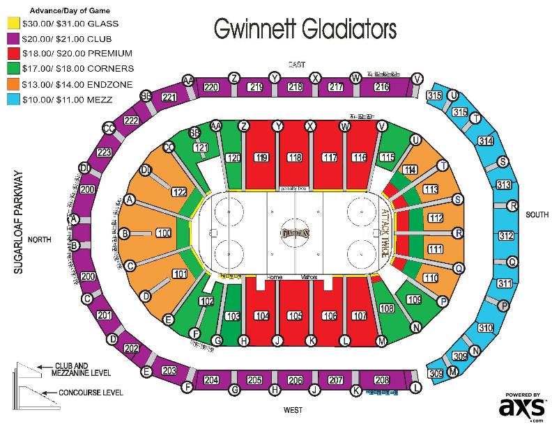 gwinnett arena seating chart: Gwinnett center seating chart infinite energy arena duluth